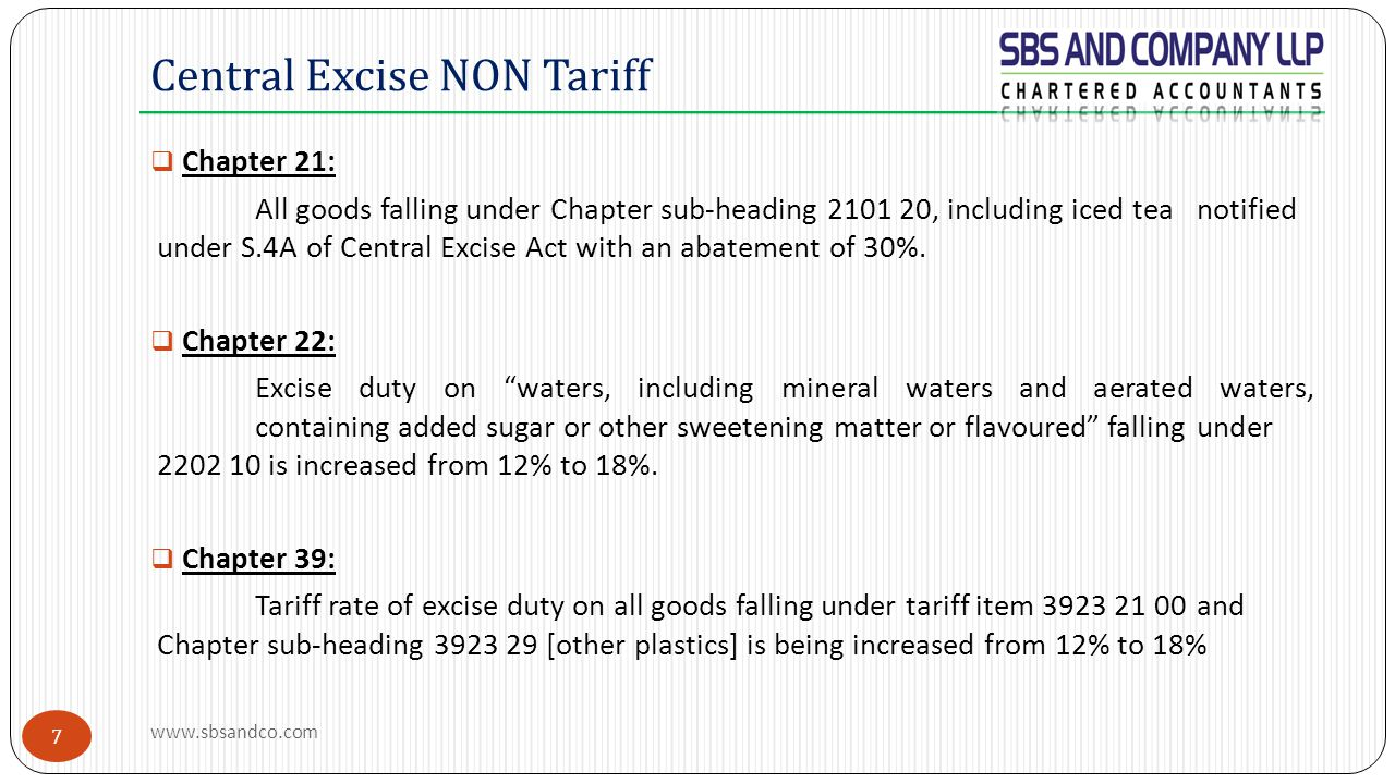7  Chapter 21: All goods falling under Chapter sub-heading 2101 20, including iced tea notified under S.4A of Central Excise Act with an abatement of 30%.