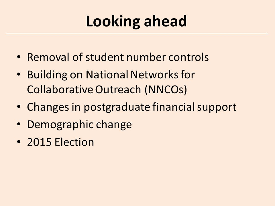 Looking ahead Removal of student number controls Building on National Networks for Collaborative Outreach (NNCOs) Changes in postgraduate financial support Demographic change 2015 Election