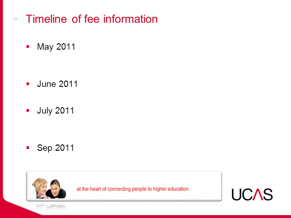 Timeline of fee information  May 2011Course search goes live: without fee information  June 2011Apply goes live for registration  July 2011 Course Search updated: with fee information  Sep 2011Apply goes live for applications