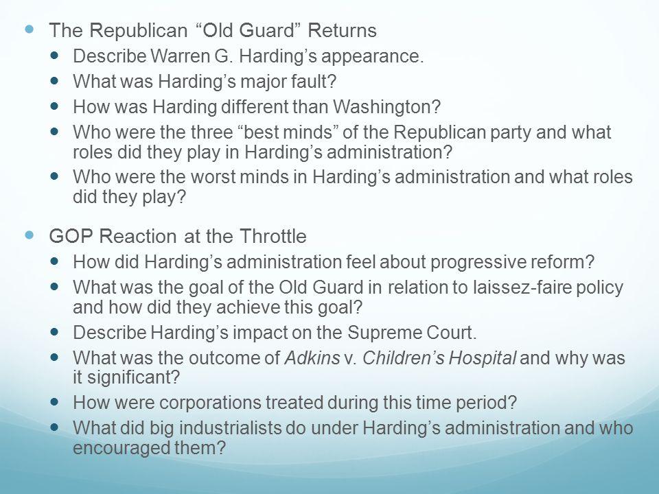 The Republican Old Guard Returns Describe Warren G.