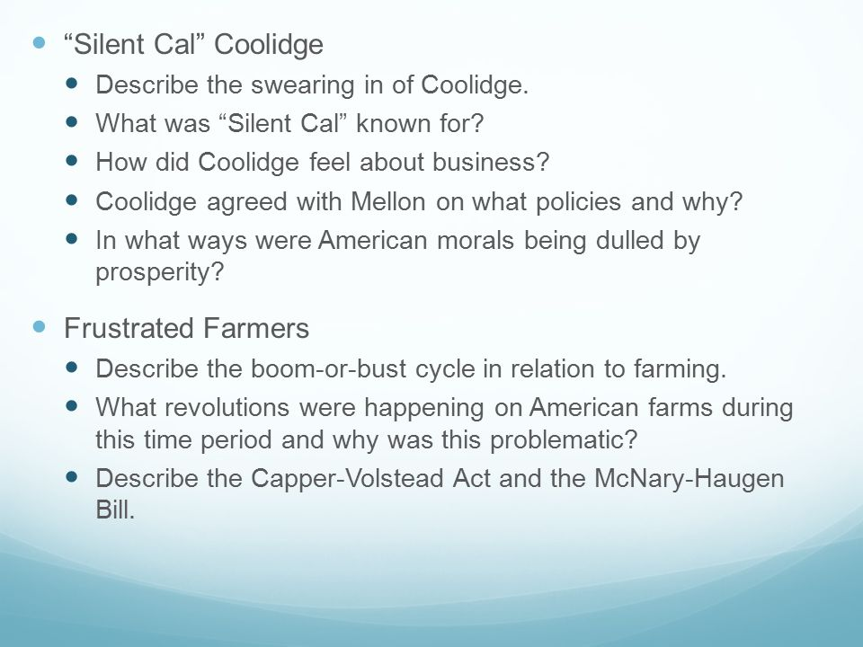 Silent Cal Coolidge Describe the swearing in of Coolidge.