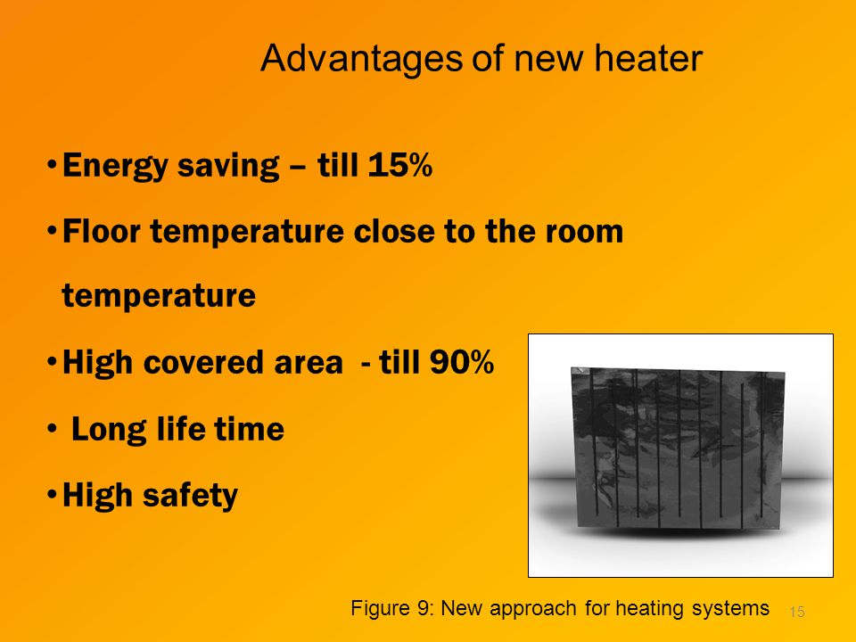 Advantages of new heater Energy saving – till 15% Floor temperature close to the room temperature High covered area - till 90% Long life time High safety 15 Figure 9: New approach for heating systems