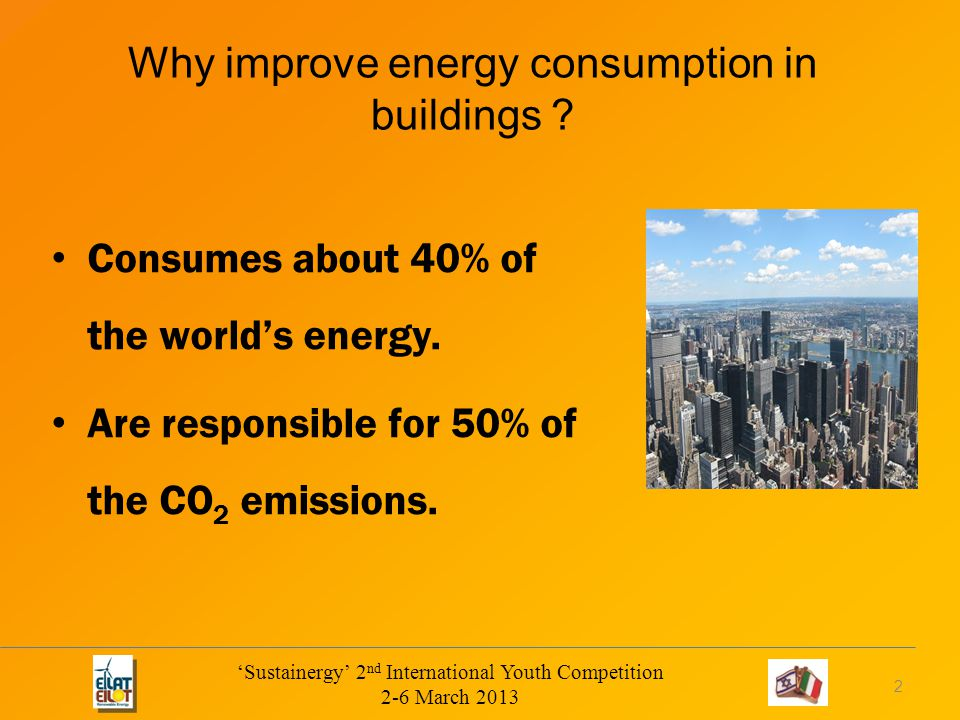 Why improve energy consumption in buildings . Consumes about 40% of the world's energy.
