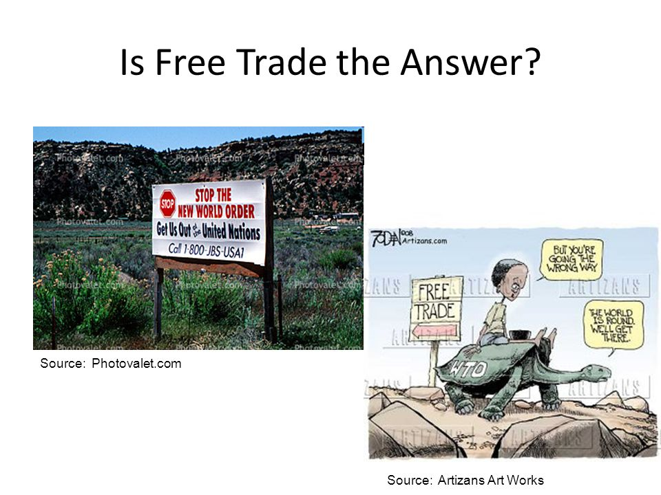 Is Free Trade the Answer? Source: Artizans Art Works Source: Photovalet.com