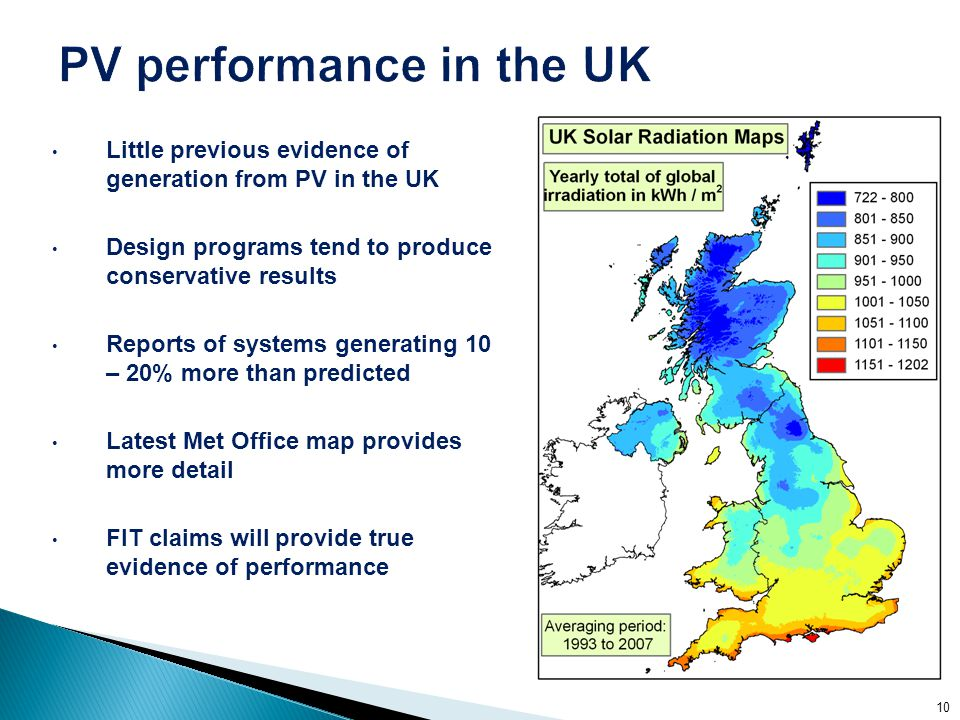 Little previous evidence of generation from PV in the UK Design programs tend to produce conservative results Reports of systems generating 10 – 20% more than predicted Latest Met Office map provides more detail FIT claims will provide true evidence of performance 10