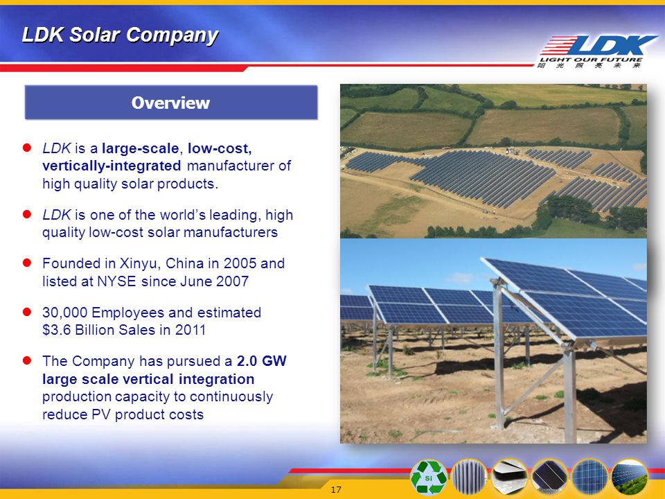 LDK Solar Company 17 LDK is a large-scale, low-cost, vertically-integrated manufacturer of high quality solar products.