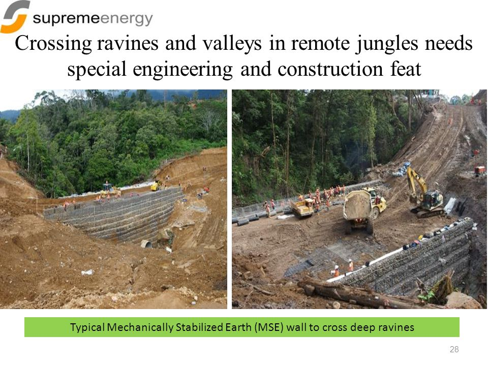 Crossing ravines and valleys in remote jungles needs special engineering and construction feat 28 Typical Mechanically Stabilized Earth (MSE) wall to