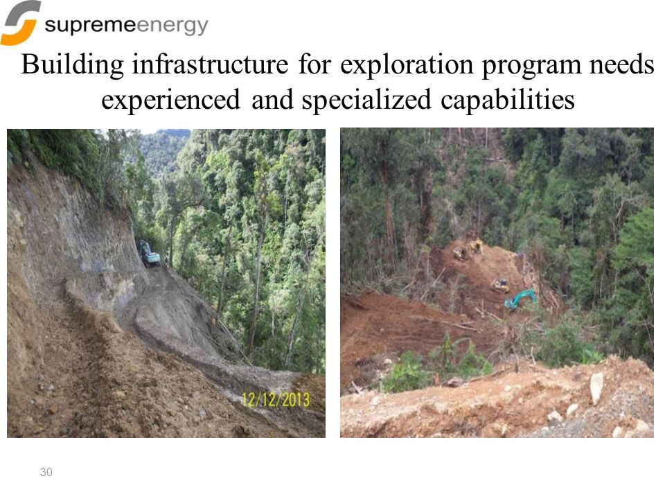 30 Building infrastructure for exploration program needs experienced and specialized capabilities