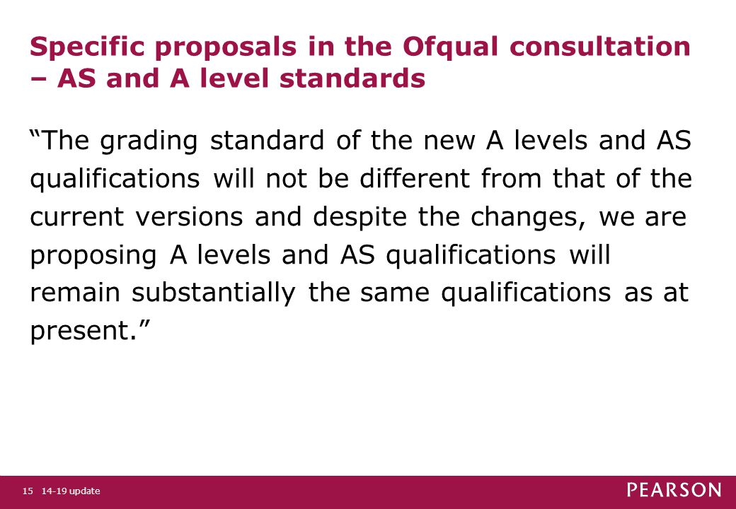 Specific proposals in the Ofqual consultation – AS and A level standards The grading standard of the new A levels and AS qualifications will not be different from that of the current versions and despite the changes, we are proposing A levels and AS qualifications will remain substantially the same qualifications as at present. 14-19 update15