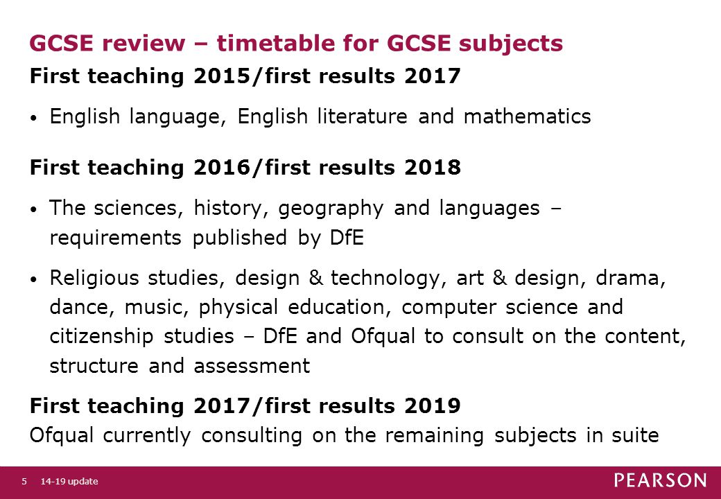 GCSE review – timetable for GCSE subjects First teaching 2015/first results 2017 English language, English literature and mathematics First teaching 2016/first results 2018 The sciences, history, geography and languages – requirements published by DfE Religious studies, design & technology, art & design, drama, dance, music, physical education, computer science and citizenship studies – DfE and Ofqual to consult on the content, structure and assessment First teaching 2017/first results 2019 Ofqual currently consulting on the remaining subjects in suite 14-19 update5