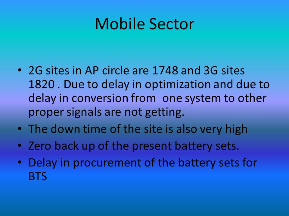 Mobile Sector 2G sites in AP circle are 1748 and 3G sites 1820.