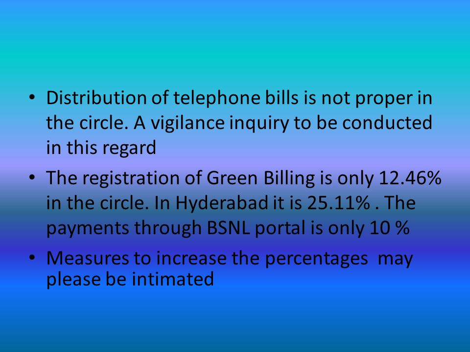 Issues to be taken up with CO New Delhi Power to introduce new tariffs to the CGMs Exemption from payment of Service Tax and property tax Certain store Items which are centralized at the time of DOT are to be decentralized now and the required material is to be purchased through committees consisting unions All Public sector State and Central Government sectors to use BSNL connections Abolish TAC's Measures to collect the expenditure made on MOS communications