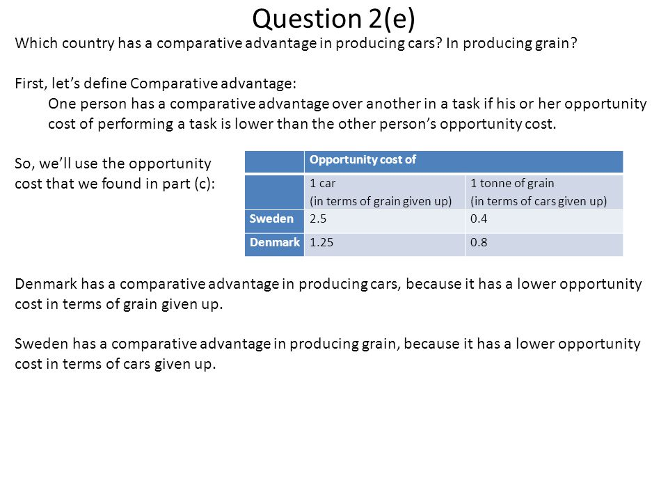 Question 2(e) Which country has a comparative advantage in producing cars? In producing grain? First, let's define Comparative advantage: One person h