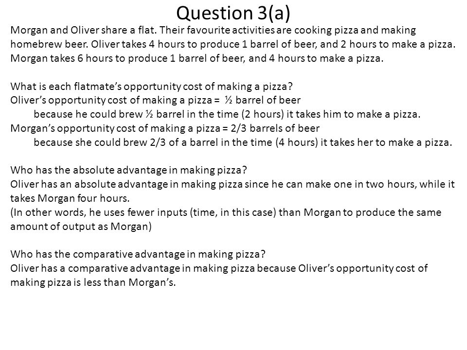Question 3(a) Morgan and Oliver share a flat.