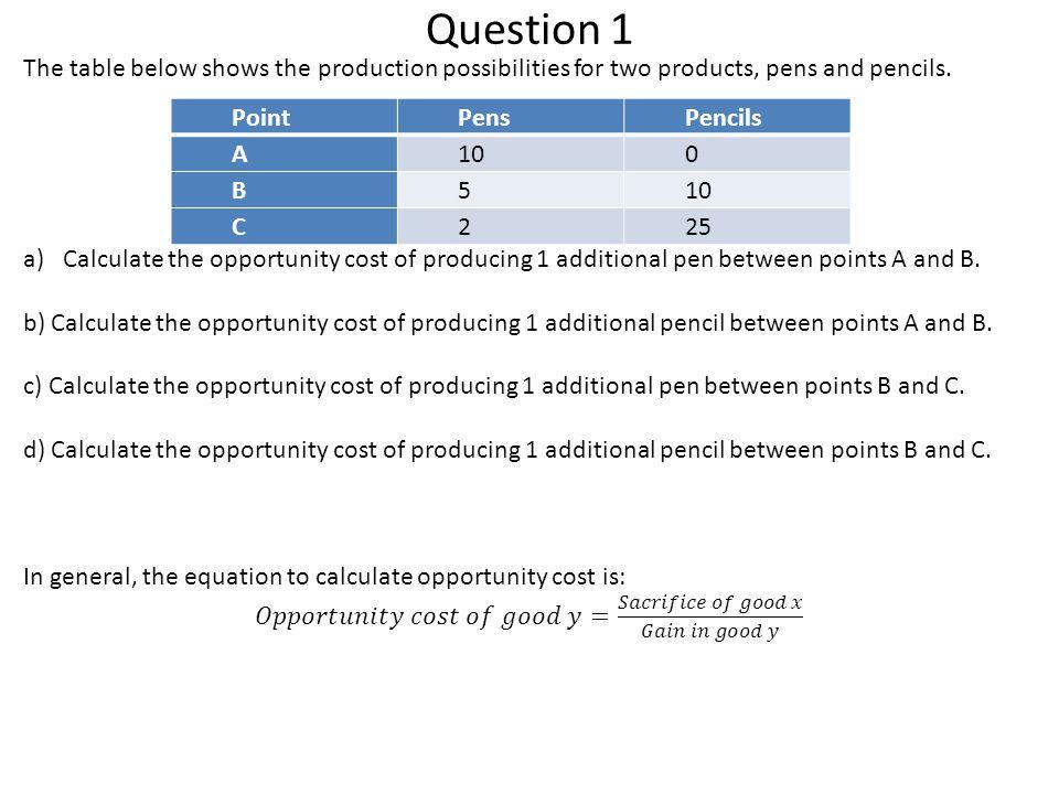 Question 1 PointPensPencils A100 B5 C225