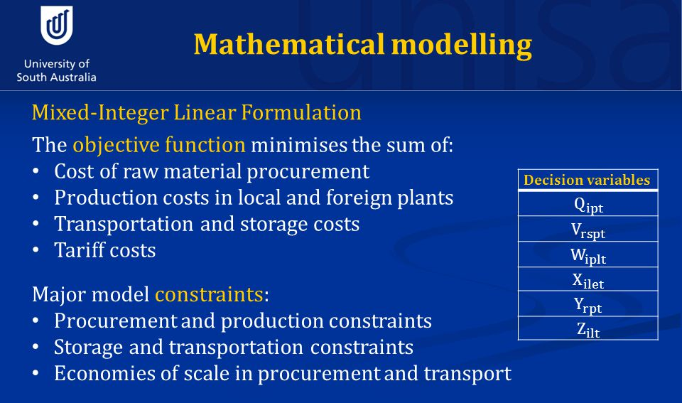 Mathematical modelling Mixed-Integer Linear Formulation The objective function minimises the sum of: Cost of raw material procurement Production costs