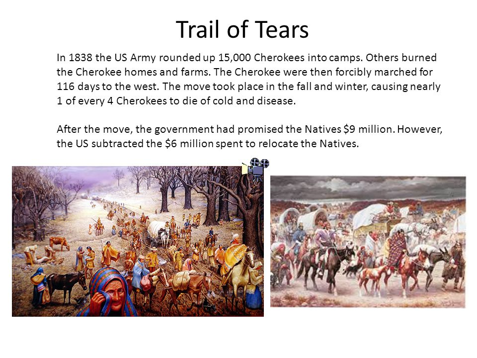 Trail of Tears In 1838 the US Army rounded up 15,000 Cherokees into camps.