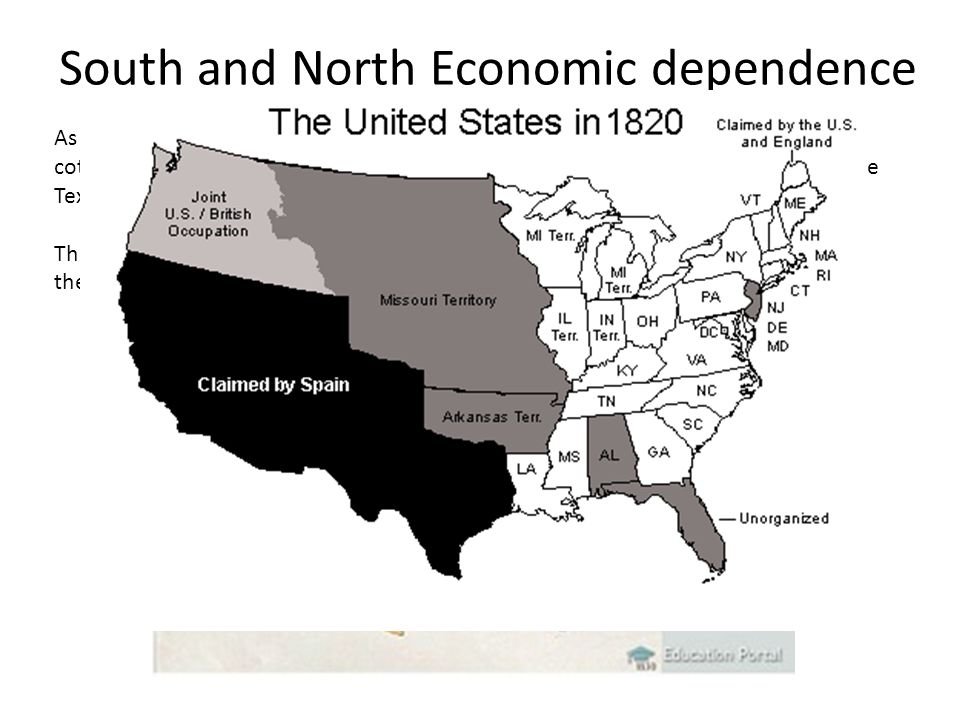 South and North Economic dependence As the cotton industry grew with the Cotton Gin, the South produced millions of cotton bales every year.