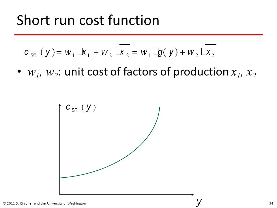 Short run cost function w 1, w 2 : unit cost of factors of production x 1, x 2 © 2011 D.