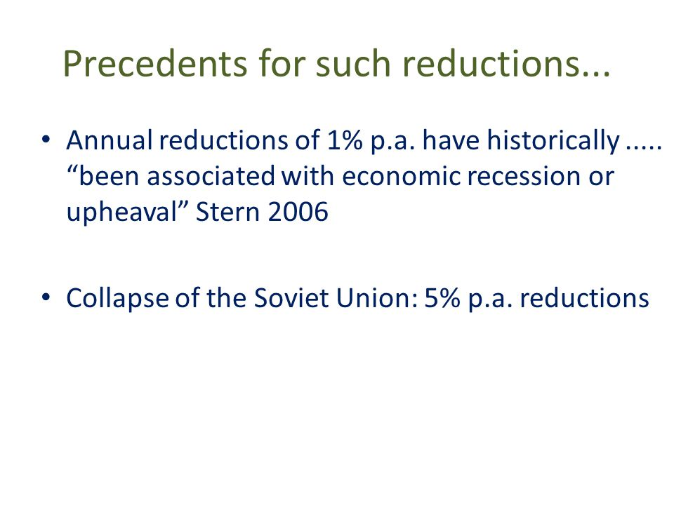 Precedents for such reductions... Annual reductions of 1% p.a.