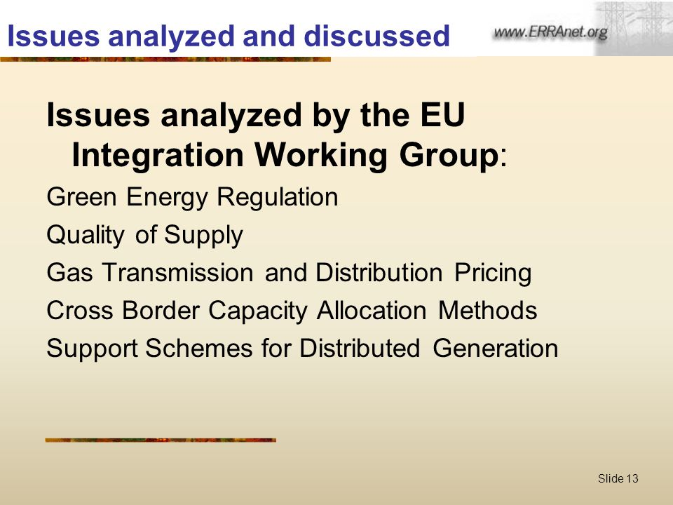 Slide 13 Issues analyzed and discussed Issues analyzed by the EU Integration Working Group: Green Energy Regulation Quality of Supply Gas Transmission and Distribution Pricing Cross Border Capacity Allocation Methods Support Schemes for Distributed Generation