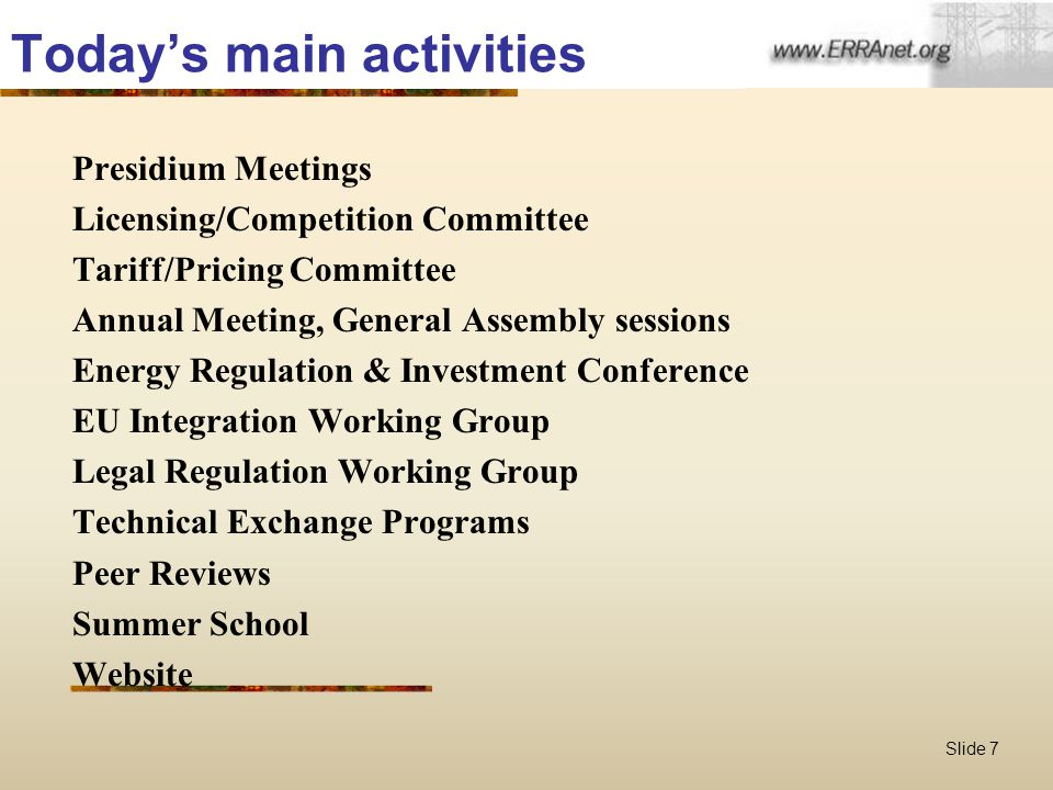 Slide 7 Today's main activities Presidium Meetings Licensing/Competition Committee Tariff/Pricing Committee Annual Meeting, General Assembly sessions Energy Regulation & Investment Conference EU Integration Working Group Legal Regulation Working Group Technical Exchange Programs Peer Reviews Summer School Website