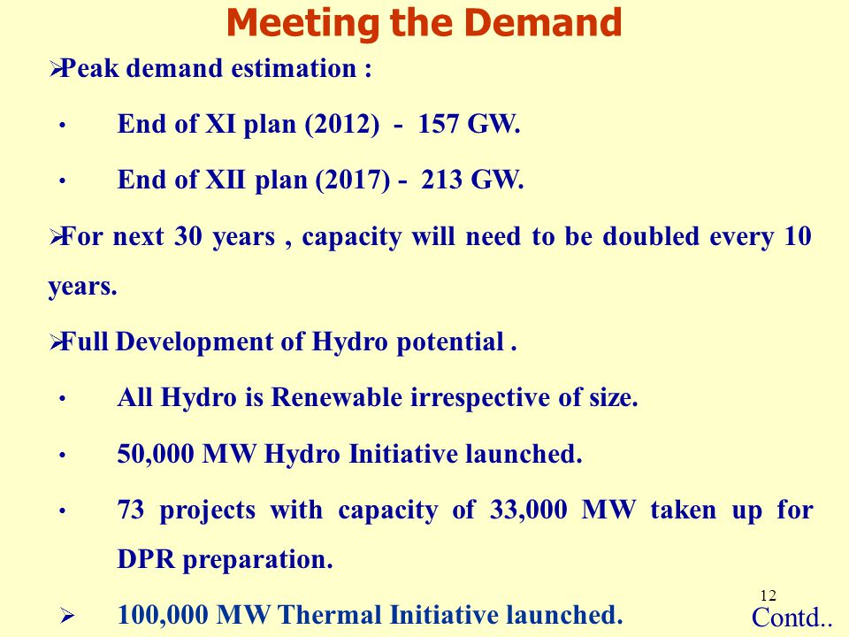 12  Peak demand estimation : End of XI plan (2012) - 157 GW.
