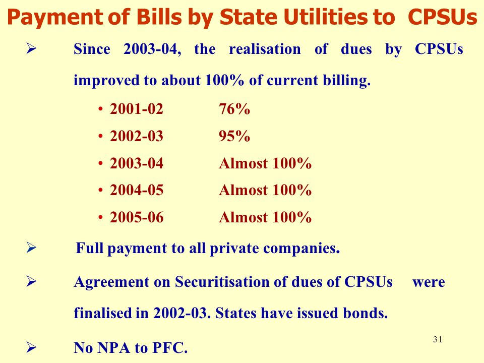 31 Payment of Bills by State Utilities to CPSUs  Since 2003-04, the realisation of dues by CPSUs improved to about 100% of current billing. 2001-0276