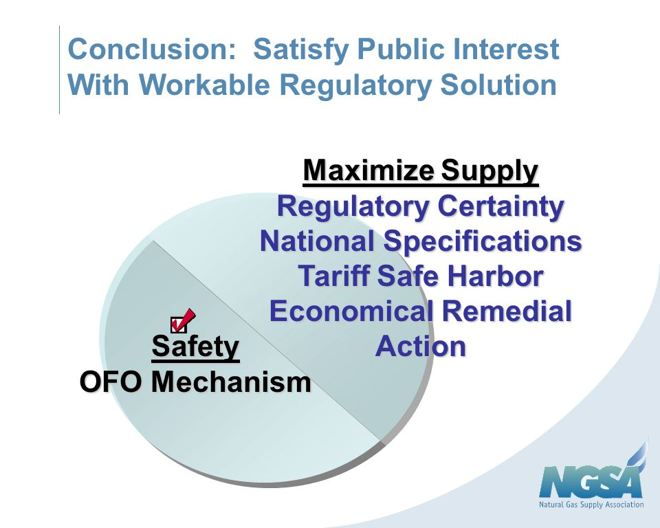 Conclusion: Satisfy Public Interest With Workable Regulatory Solution Safety OFO Mechanism Maximize Supply Regulatory Certainty National Specification