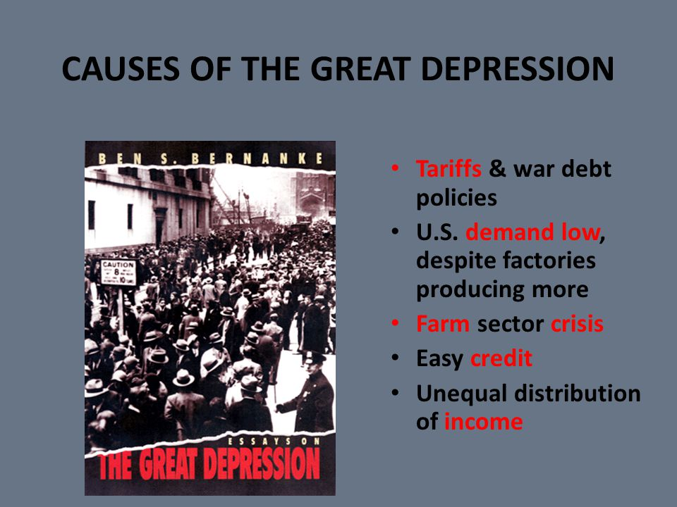 Causes of the Depression The twenties saw a boom in consumer spending.