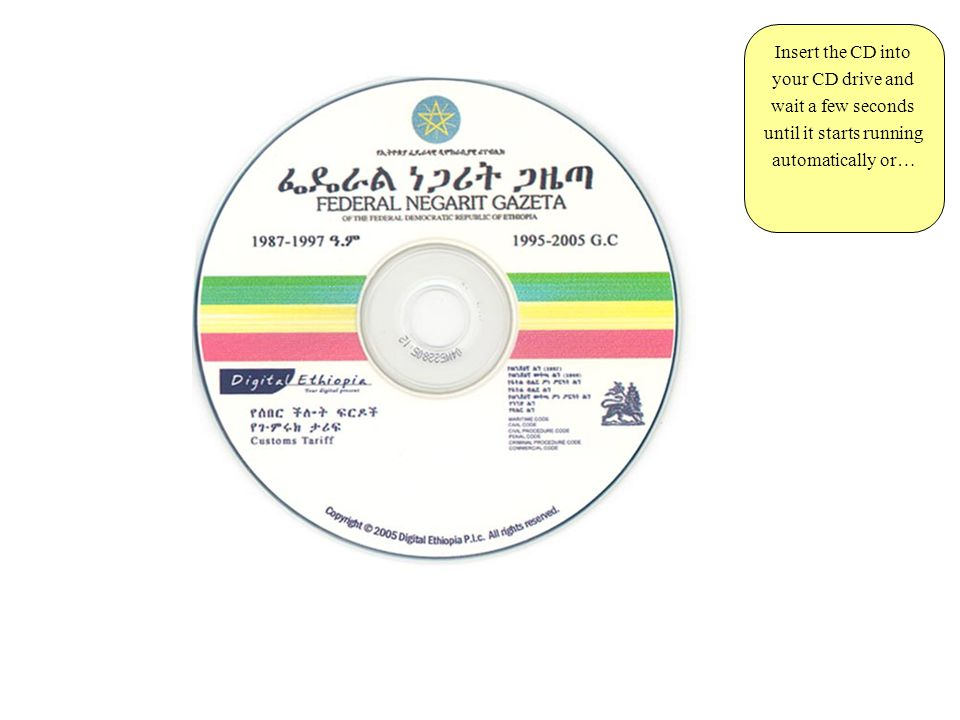 Insert the CD into your CD drive and wait a few seconds until it starts running automatically or…