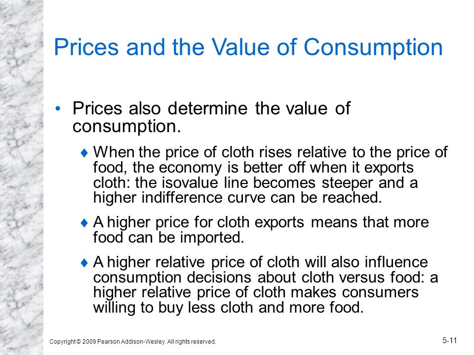 Copyright © 2009 Pearson Addison-Wesley. All rights reserved. 5-11 Prices and the Value of Consumption Prices also determine the value of consumption.