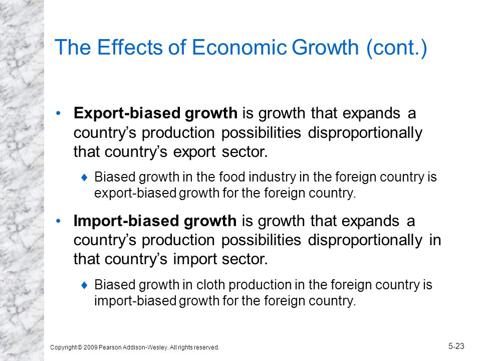 Copyright © 2009 Pearson Addison-Wesley. All rights reserved. 5-23 The Effects of Economic Growth (cont.) Export-biased growth is growth that expands