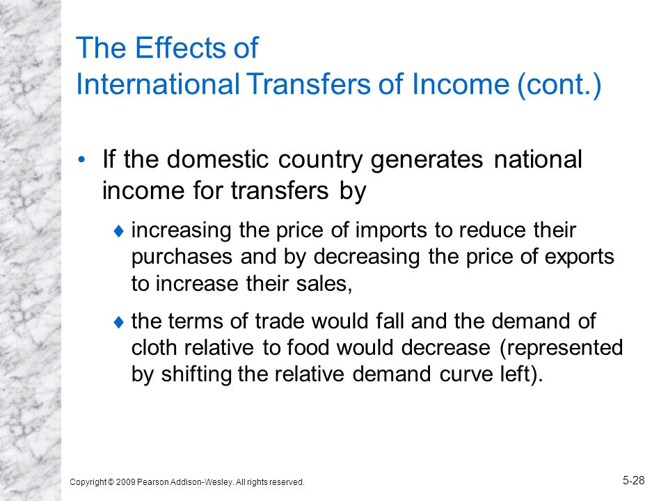 Copyright © 2009 Pearson Addison-Wesley. All rights reserved. 5-28 The Effects of International Transfers of Income (cont.) If the domestic country ge