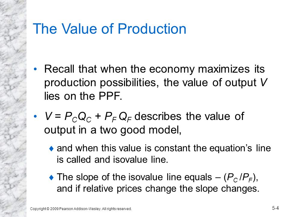 Copyright © 2009 Pearson Addison-Wesley. All rights reserved. 5-4 The Value of Production Recall that when the economy maximizes its production possib