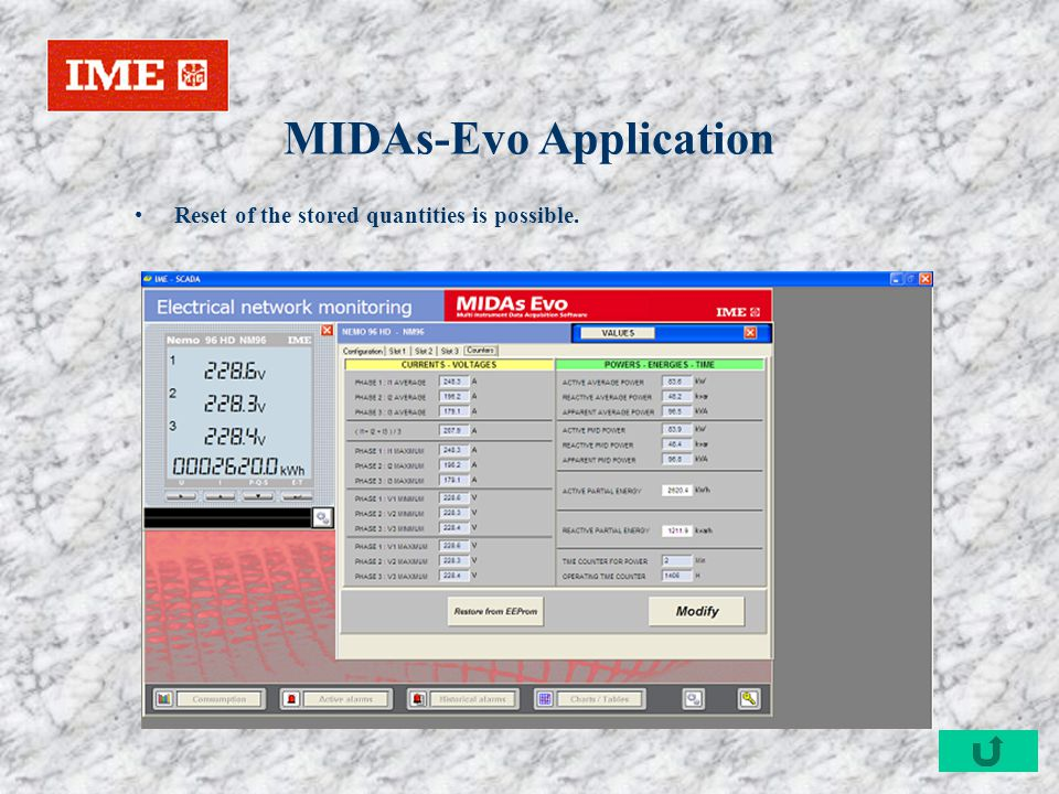 MIDAs-Evo Application Reset of the stored quantities is possible.