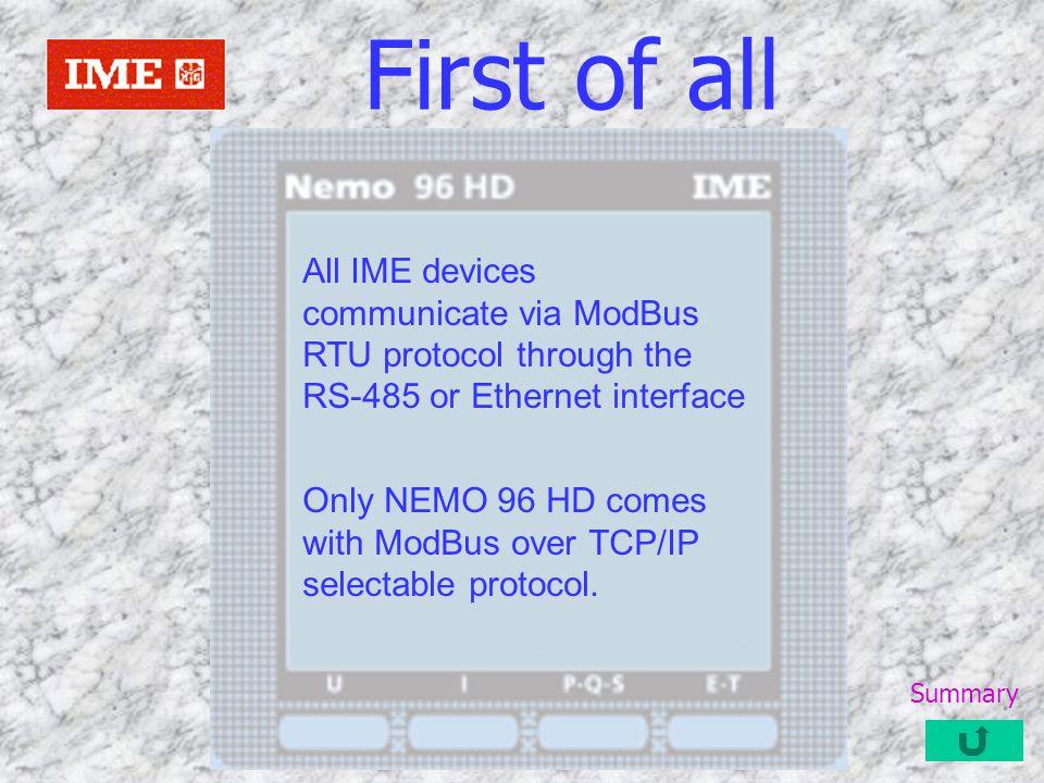 Protocols and hardware interface MidasEvo support 2 type communication protocols and 2 type hardware interface The hardware interface are physical communication gate: –1) RS-232 or RS-458 –2) Ethernet The protocols are: –1) ModBus RTU –2) ModBus RTU over TCP/IP Summary