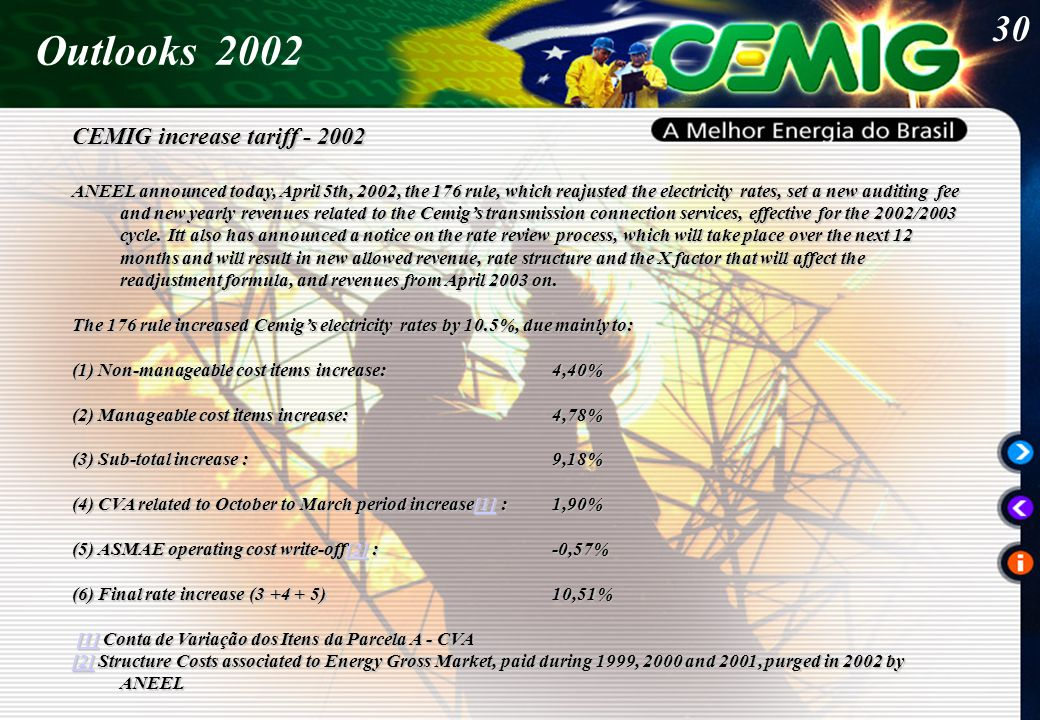 30 Outlooks 2002 CEMIG increase tariff - 2002 ANEEL announced today, April 5th, 2002, the 176 rule, which reajusted the electricity rates, set a new auditing fee and new yearly revenues related to the Cemig's transmission connection services, effective for the 2002/2003 cycle.
