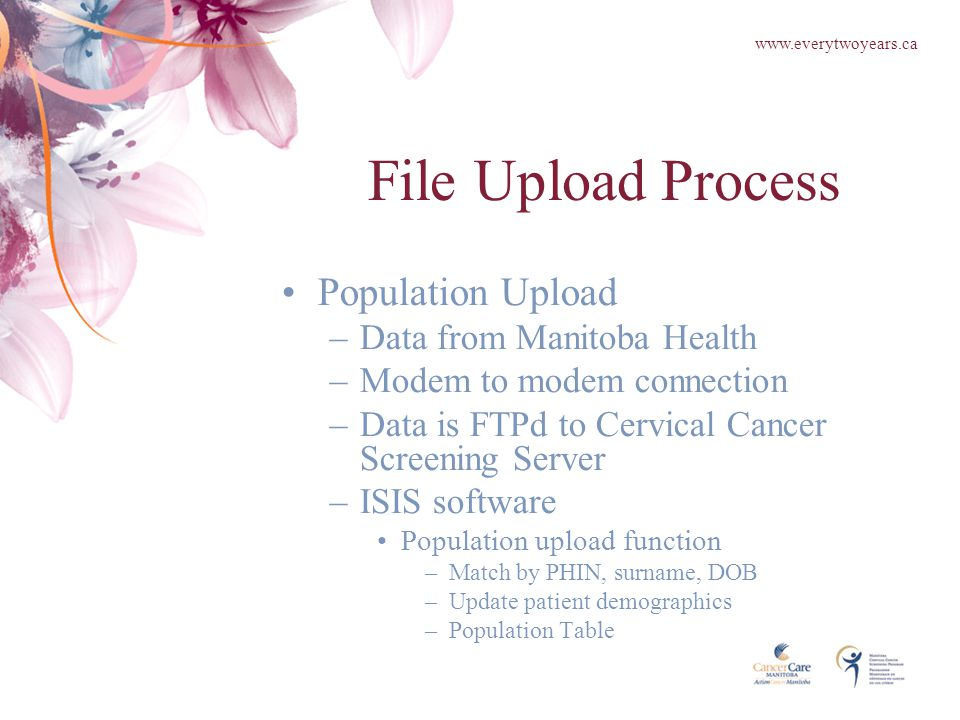 File Upload Process Population Upload –Data from Manitoba Health –Modem to modem connection –Data is FTPd to Cervical Cancer Screening Server –ISIS software Population upload function –Match by PHIN, surname, DOB –Update patient demographics –Population Table www.everytwoyears.ca