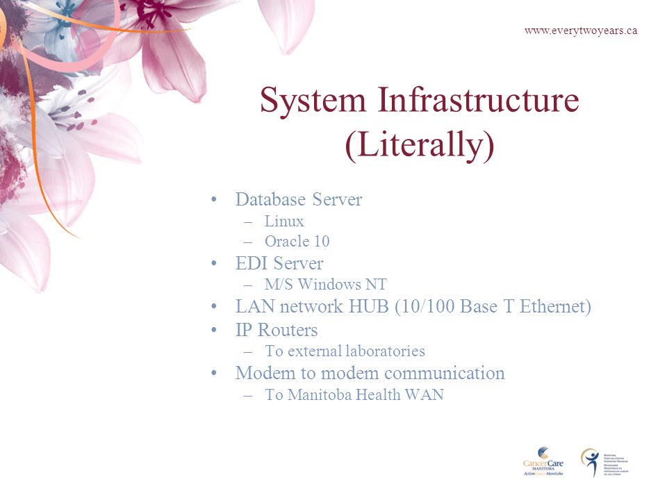 System Infrastructure (Literally) Database Server –Linux –Oracle 10 EDI Server –M/S Windows NT LAN network HUB (10/100 Base T Ethernet) IP Routers –To external laboratories Modem to modem communication –To Manitoba Health WAN www.everytwoyears.ca