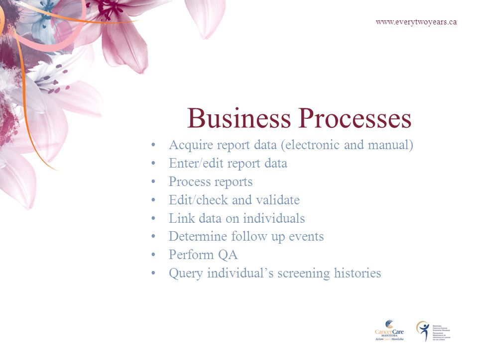 Business Processes Acquire report data (electronic and manual) Enter/edit report data Process reports Edit/check and validate Link data on individuals Determine follow up events Perform QA Query individual's screening histories www.everytwoyears.ca