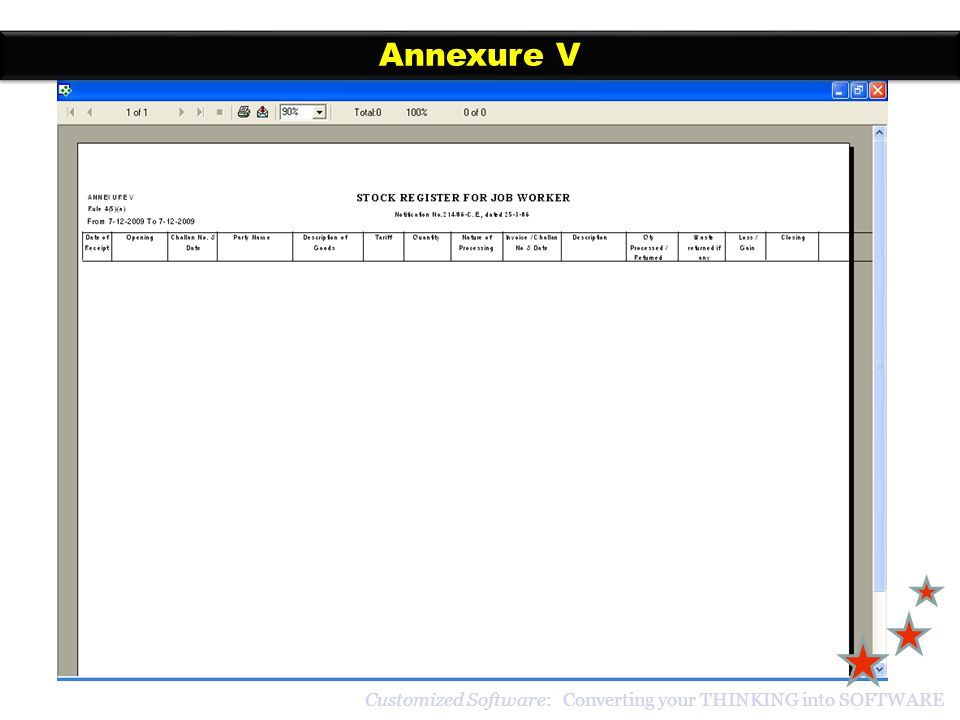 Annexure V Customized Software: Converting your THINKING into SOFTWARE