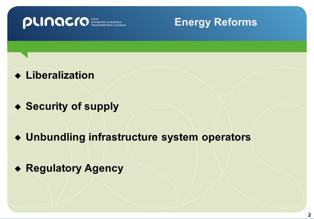 2  Liberalization  Security of supply  Unbundling infrastructure system operators  Regulatory Agency Energy Reforms