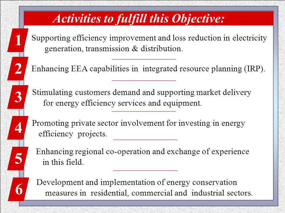 Activities to fulfill this Objective: 1 Supporting efficiency improvement and loss reduction in electricity generation, transmission & distribution.