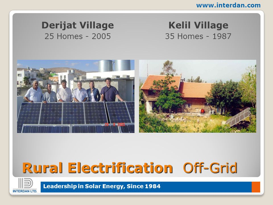 www.interdan.com Leadership in Solar Energy, Since 1984 Rural Electrification Off-Grid Rural Electrification Off-Grid Derijat Village 25 Homes - 2005 Kelil Village 35 Homes - 1987