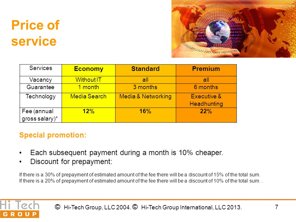 7 Price of service Special promotion: Each subsequent payment during a month is 10% cheaper.