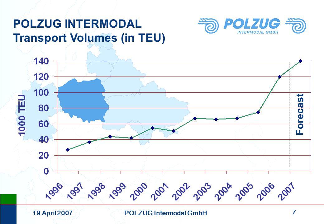 7 19 April 2007POLZUG Intermodal GmbH POLZUG INTERMODAL Transport Volumes (in TEU) Forecast