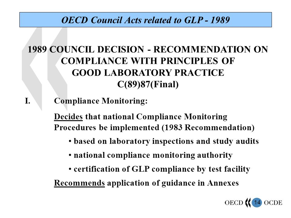 14 OECD Council Acts related to GLP - 1989 1989 COUNCIL DECISION - RECOMMENDATION ON COMPLIANCE WITH PRINCIPLES OF GOOD LABORATORY PRACTICE C(89)87(Final) I.Compliance Monitoring: Decides that national Compliance Monitoring Procedures be implemented (1983 Recommendation) based on laboratory inspections and study audits national compliance monitoring authority certification of GLP compliance by test facility Recommends application of guidance in Annexes