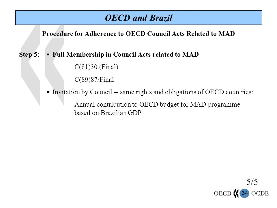 34 OECD and Brazil Procedure for Adherence to OECD Council Acts Related to MAD Step 5: Full Membership in Council Acts related to MAD C(81)30 (Final) C(89)87/Final Invitation by Council -- same rights and obligations of OECD countries: Annual contribution to OECD budget for MAD programme based on Brazilian GDP 5/5