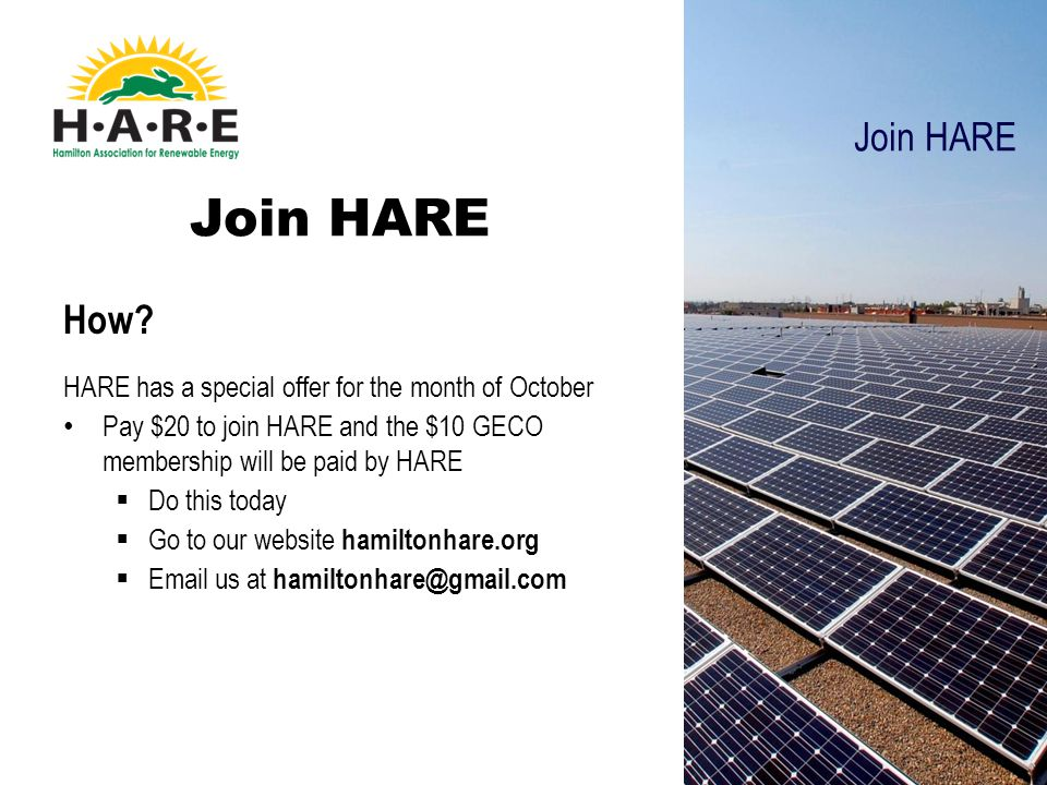 How? HARE has a special offer for the month of October Pay $20 to join HARE and the $10 GECO membership will be paid by HARE  Do this today  Go to o